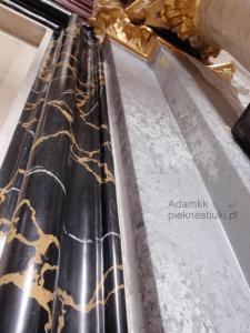 Rama stiuk marmur portoro,pilaster stiuk granit Strzegom.Adamkk www.pieknestiuki.pl
